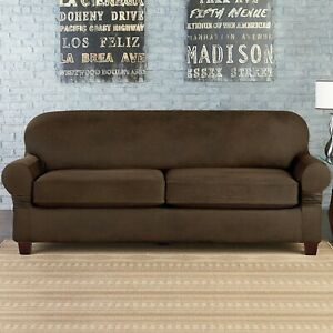 NEW Sure Fit faux stretch leather convertible LOVESEAT Slipcover Box / t cushion