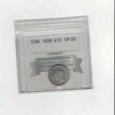 **1938**, Coin Mart  Graded Canadian,  10  Cent, **VF-30**