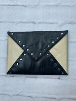 "NEW BEBE Studded Leather Envelope Clutch Purse Hand Bag Women Black Beige 11x8"""