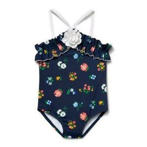 NWT Janie and Jack Girls Navy Floral Rosette One-Piece Swimsuit Sizes 5 6 7 12