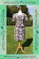 Vintage LAURA ASHLEY Navy Rose Print Blazer Jacket Skirt Suit Dress Set Size 10