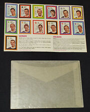1970/71 - COLGATE STAMPS - NHL - UNCUT SHEET OF 13 STAMPS with WINGS COUPON