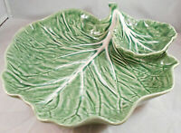 Green Cabbage Leaf Chip Dip Dish Bordallo Pinheiro Portugal Snack Tidbit White