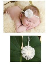 Newborn Baby Girl Christening Mohair Flower White Headband Wedding 0-6mos