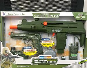 Military Force Set Gun  Click Sound Toy Army Boys Girls Action Sounds Gift UK
