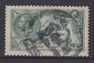 GB STAMPS KING GEORGE V £1 GREEN SEAHORSE USED SOUND EXAMPLE VERY RARE