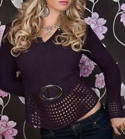 Damen V-Pullover Loch Strick Miss Pulli Zier-Gürtel Look 34/36/38 NEU lila TOP