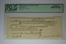 Connecticut Ralph Pomeroy Comptroller Receipt PCGS Gem New 65PPQ.
