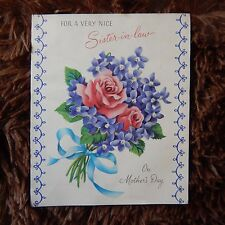 Vintage Mother's Day Card, Norcross 15MD893, SISTER-IN-LAW Pink Roses & Violets