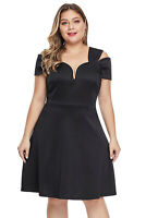 Ladies Plus Size Flare Dress Size 16-34 Available in Black or Blue