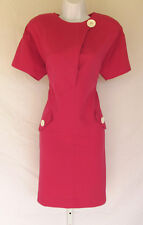 VINTAGE 1960s 70s MOD SCOOTER DRESS LESLIE FAY MAGENTA SIZE 8 LUCITE BUTTONS