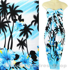 Coconut Hawaii Cruise Luau Sarong Pareo Cover-up Beach Light Blue sa170s bid