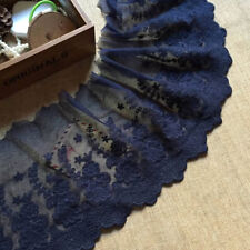 """2 Yards Navy Blue Lace Trim Tulle Coton Star Floral Embroidered Lace 7.48"""" width"""