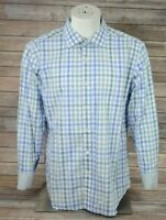 Bugatchi Uomo Shaped Fit Mens Flip Cuff Button Front Shirt Blue Green Plaid