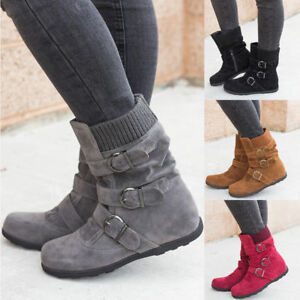 Women Winter Matte Snow Ankle Boots Buckle Flat Casual Short Booties Shoes Size