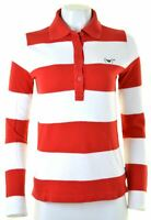 ARMANI Womens Polo Shirt Long Sleeve Size 14 Medium Red Striped Cotton  GL14