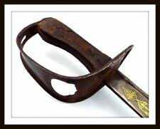 ANTIQUE ISLAMIC TURKISH OR ARABIC CAVALRY OFFICER'S SWORD SHAMSHIR ~ GOLD INLAID