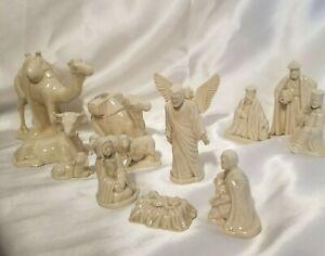Small Ceramic Glass 14 Piece Nativity Set Figurines Beige
