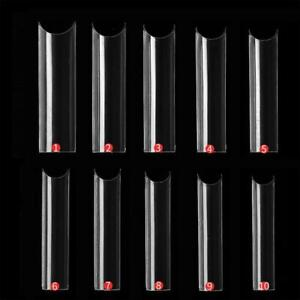500 Pcs Extra Long C Curve Tapered Square False Nail Tips Acrylic Half Cover nEW