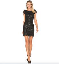 ALICE & OLIVIA 'PENNI' FAUX LEATHER BLACK  DRESS sz  4