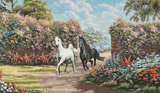 """34"""" WALL JACQ. WOVEN TAPESTRY Black and White Horses ANIMALS - FLORAL LANDSCAPE"""