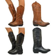 Stivali Donna Alti Texani Pelle Camperos Western Boots Vera Pelle S88