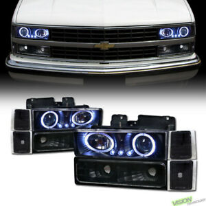 Blk LED Halo Projector Headlight+Signal+Corner Yd For 94-99 Chevy C10 C/K Truck
