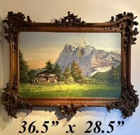 """Stunning 36.5"""" x 28.5"""" Hand Carved Black Forest Frame, Swiss Chalet Oil Painting"""