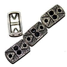 Metal Bracelet Slider Bead Swarovski Crystal Jet Black 2 Hole 13x7m 12 Beads SB3