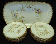 Antique LS&S Strauss Limoges France Painted 13 Pc Ice Cream Dessert Serving Set