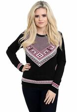 New Ladies Women Knitted Long Sleeve Crew Neck Fairisle Aztec Jumper Top Sweater