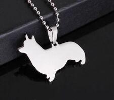 New Stainless Steel Pembroke Cardigan Welsh Corgi Pet Dog Charm Pendant Necklace