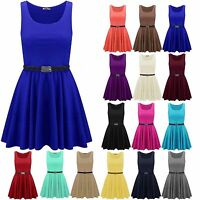 New Ladies Women sleeveless Belted Flared Franki Short Party Skater Dress Top