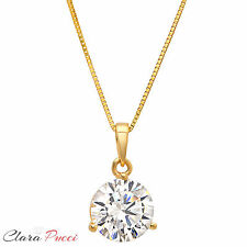 "2.10CT Simulated Round Cut Martini 14K Yellow Gold Pendant Necklace +16"" Chain"