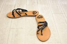 ** Fergalicious Women's Delaney Glitter Thong Sandals - Black - Size 7 M
