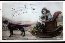 ARBOIS (39) ATTELAGE de CHIEN avec TRAINEAU & ENFANT / BONNE ANNEE en 1909