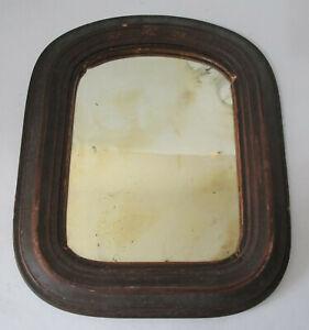 Antique 1800's Primitive Wooden Mirror Shingle Back Naive