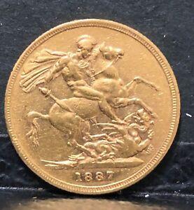 Gold Sovereign QUEEN VICTORIA 1887 SYDNEY AUSTRALIAN MINT--SAINT GEORGE & DRAGON