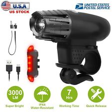 3000 Lumen USB Rechargeable Cycling Light Bicycle Bike LED Front Rear Lamp Set