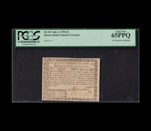 1780 $2 RHODE ISLAND COLONIAL CURRENCY PCGS GEM NEW 65 PPQ