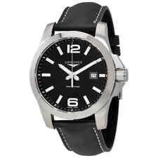 Longines Conquest Black Dial Black Leather Men's Watch L37604563