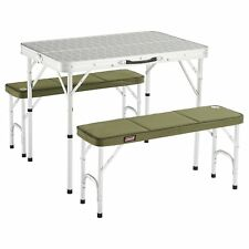 Table Camping Folding Shape Suitcase With Chairs Benches White Sturdy Aluminium
