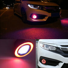 "Pair 2.5"" COB LED Fog Light Projector Lamp + Red Halo Angle Eyes Ring Bulb DRL"
