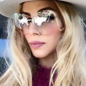 Oversized Luxury Rimless Designer Metal Bar Retro Women Outdoor Round Sunglasses