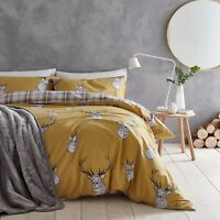 Catherine Lansfield Stag Tartan Reverse Easy Care Duvet Cover Bedding Set Ochre