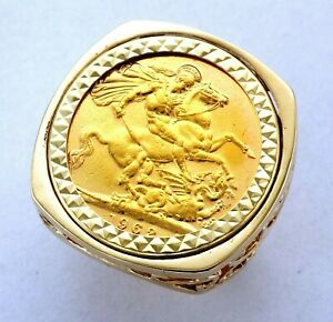 HEAVY 9ct Gold Cushion Mounted 1962 Queen Elizabeth II Full Sovereign Coin Ring