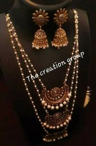 Indian Ethnic Oxidized decorative Laheria Necklace with Earrings set