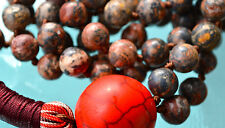 Red Leopard Skin Jasper Red Howlite Prayer Beads Hand Knotted Mala Beads Necklac