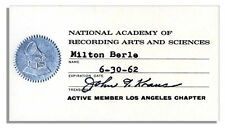 Milton Berle 1962 Membership Card to Grammy's NARAS