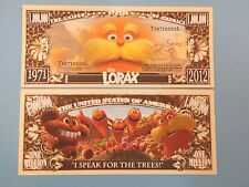 The LORAX Dr. Seuss Animated Film Book ~ USA $1,000,000 One Million Dollar Bill